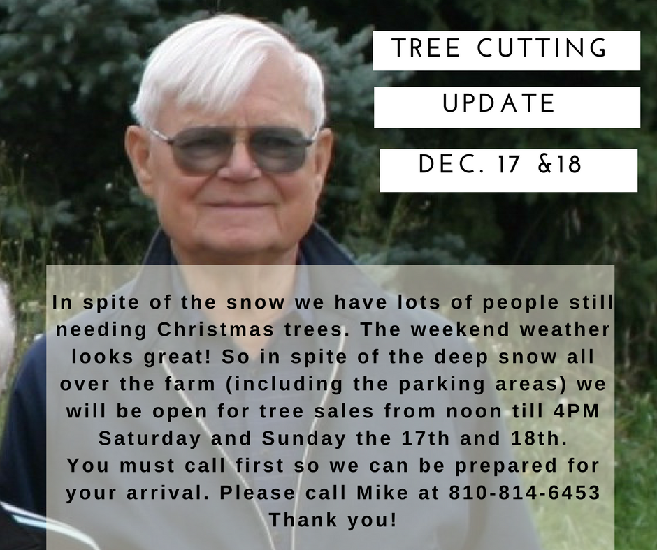 December 17 and 18: Please call first to arrange your arrival time. We are cutting trees in spite of the deep snow in fields and parking area.
